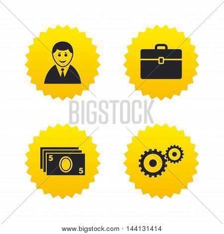 Businessman icons. Human silhouette and cash money signs. Case and gear symbols. Yellow stars labels with flat icons. Vector