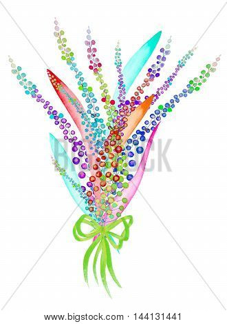 An illustration with a bouquet of the beautiful watercolor abstract variegated mimosa flowers and leaves, hand-drawn in a watercolor on a white background