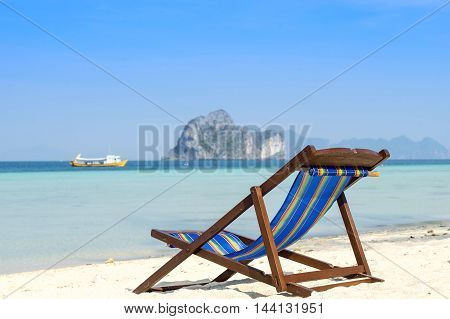 chair on the beach for vacation time and blue sky clear sea