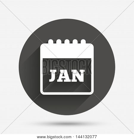 Calendar sign icon. January month symbol. Circle flat button with shadow. Vector