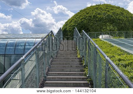 straight stairs pathway leading to famous rooftop garden University Library building in Warsaw Poland