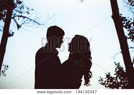 Silhouette of two lovers touching and hugging in a forest the trees and the sky.