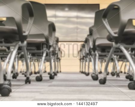Motion blur of view of empty seminar after finish meeting and audience go out in a seminar room background in ant view
