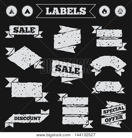 Stickers, tags and banners with grunge. Tourist camping tent icons. Fire flame sign symbols. Sale or discount labels. Vector