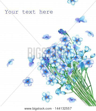 A template of postcard with a bouquet of the beautiful watercolor blue forget-me-not flowers (Myosotis) for a greeting card, decoration postcard or invitation