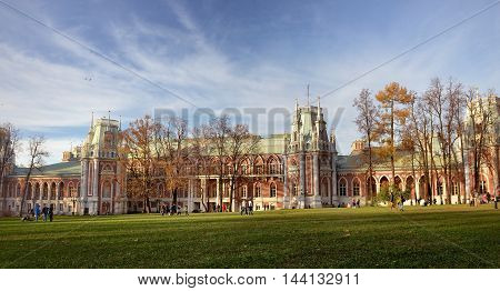Moscow, Russia - 13 October, 2013: The central palace in Tsaritsyno park. Park Tsaritsyno - state historical and architectural art and landscape reserve museum, which is located in the south of Moscow and includes the palace complex and the historic lands