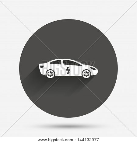 Electric car sign icon. Sedan saloon symbol. Electric vehicle transport. Circle flat button with shadow. Vector