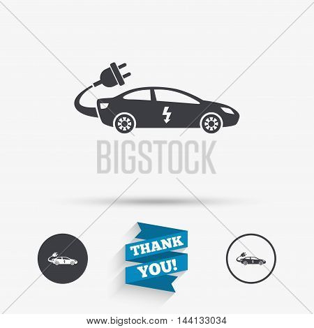 Electric car sign icon. Sedan saloon symbol. Electric vehicle transport. Flat icons. Buttons with icons. Thank you ribbon. Vector