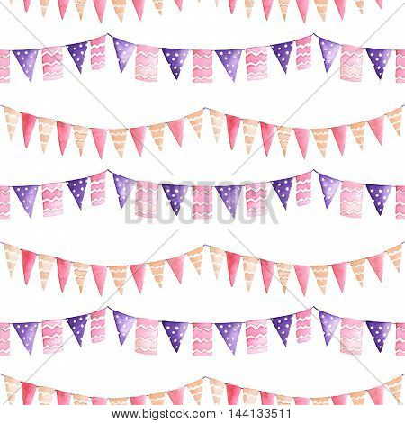 Watercolor seamless pattern with the garland of the purple and pink flags painted on a white background
