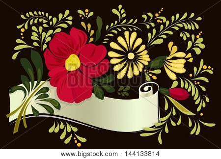 Abstract floral card with old scroll with copy space vector template.
