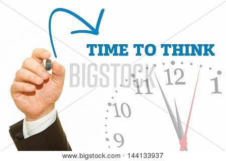 Businessman hand writing TIME TO THINK message on a transparent wipe board.