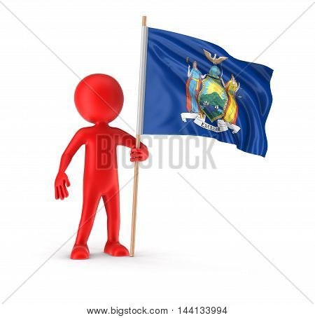 3D Illustration. Man and flag of the US state of New York. Image with clipping path