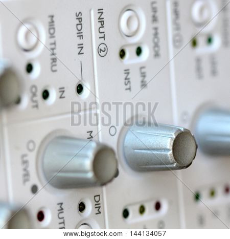 picture of a Close up music amplifierexternal sound card