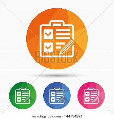 Checklist with pencil sign icon. Control list symbol. Survey poll or questionnaire form. Triangular low poly button with flat icon. Vector