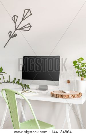 Simple Home Office With Touch Of Green