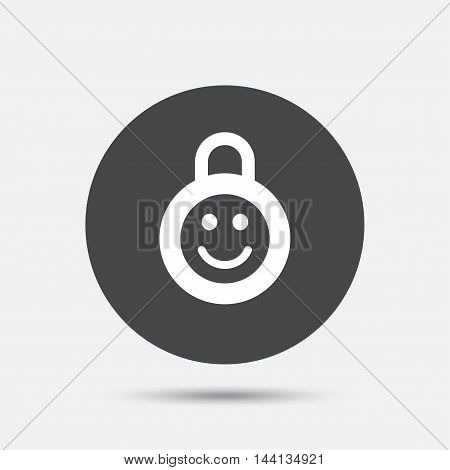 Child lock icon. Locker with smile symbol. Child protection. Circle flat button with shadow. Vector