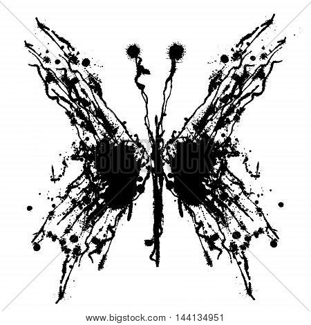 Vector hand drawn butterfly. Artistic creative black and white graphic illustration with inc splash blots and smudge isolated on the white background.