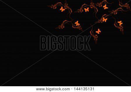 Butterflies flying within fire.  Orange on black.