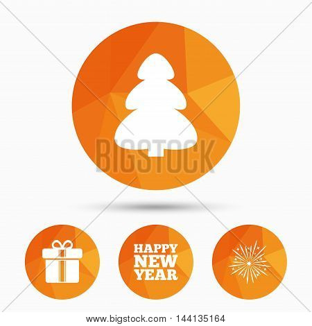 Happy new year icon. Christmas tree and gift box signs. Fireworks explosive symbol. Triangular low poly buttons with shadow. Vector