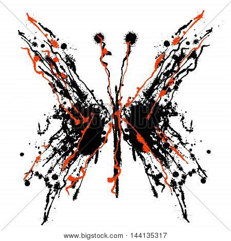 Vector hand drawn watercolor butterfly. Artistic creative black and red graphic ilustration with splash blots and smudge isolated on the white background.
