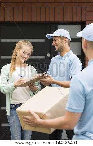 Giving Quittance To Delivery Man