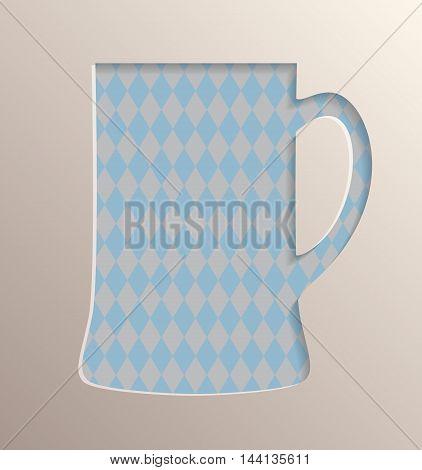 Oktoberfest poster design. Mug of beer on traditional oktoberfest pattern with simulation of 3D volume effect.