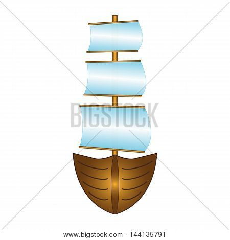 Fishing boat with sails - Vector design EPS 10
