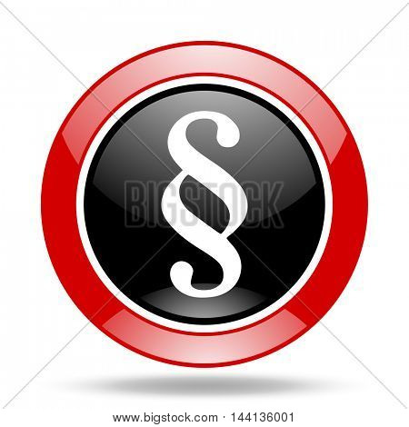 paragraph round glossy red and black web icon