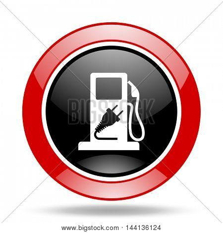 fuel round glossy red and black web icon
