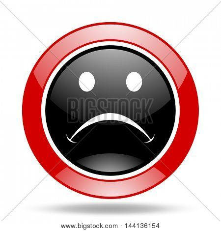 cry round glossy red and black web icon