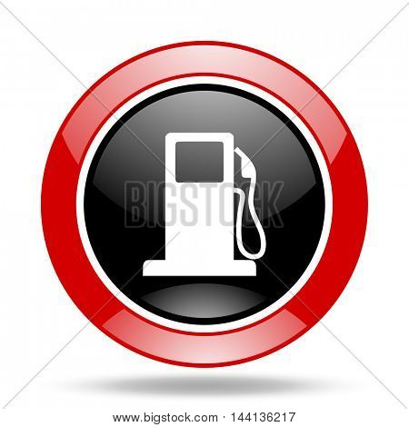 petrol round glossy red and black web icon