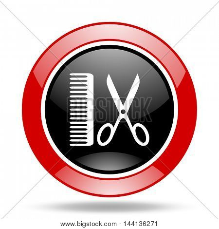 barber round glossy red and black web icon