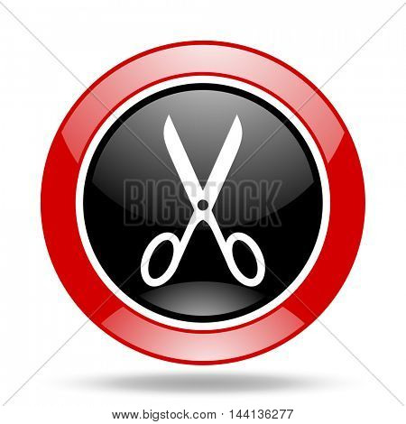 scissors round glossy red and black web icon