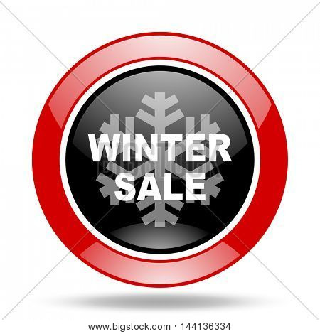 winter sale round glossy red and black web icon