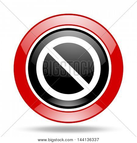access denied round glossy red and black web icon