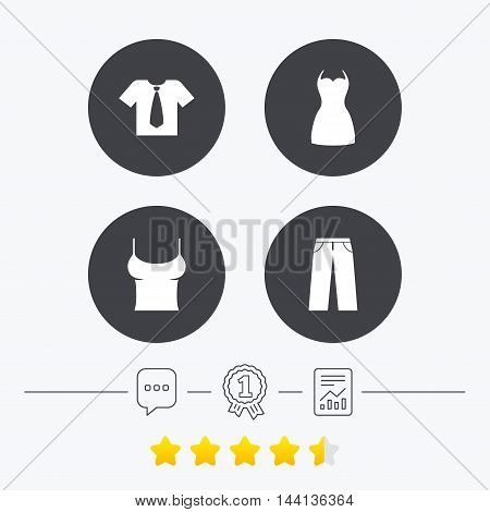 Clothes icons. T-shirt with business tie and pants signs. Women dress symbol. Chat, award medal and report linear icons. Star vote ranking. Vector