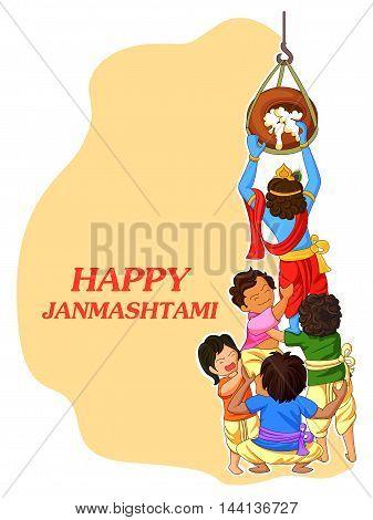 vector illustration of Krishna with friends playing dahi handi in Janmashtami