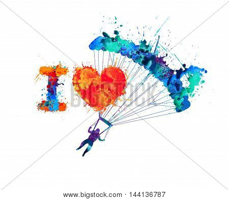 I love skydiving. Vector watercolor splash paint sign