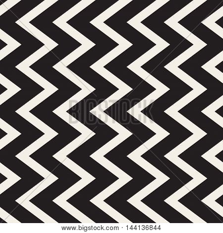 Vector Seamless Black and White Vertical ZigZag Lines Geometric Pattern. Abstract Geometric Background Design