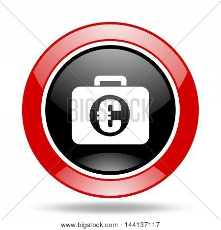 financial round glossy red and black web icon