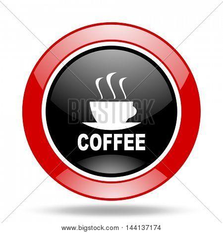 espresso round glossy red and black web icon