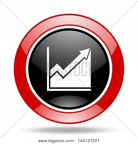 histogram round glossy red and black web icon