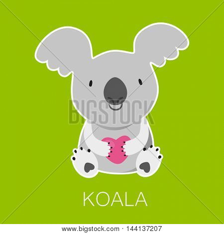 Koala Bear with heart. Australian marsupial bear. Vector Illustration.