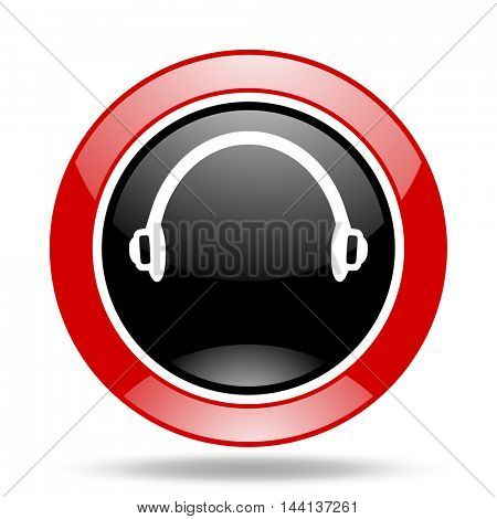 headphones round glossy red and black web icon
