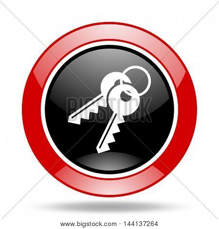keys round glossy red and black web icon