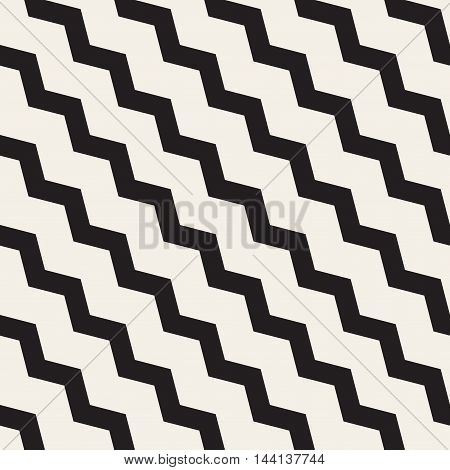 Vector Seamless Black and White ZigZag Diagonal Lines Geometric . Abstract Geometric Background Design