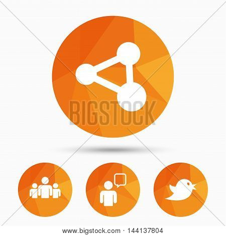 Group of people and share icons. Speech bubble symbols. Communication signs. Triangular low poly buttons with shadow. Vector