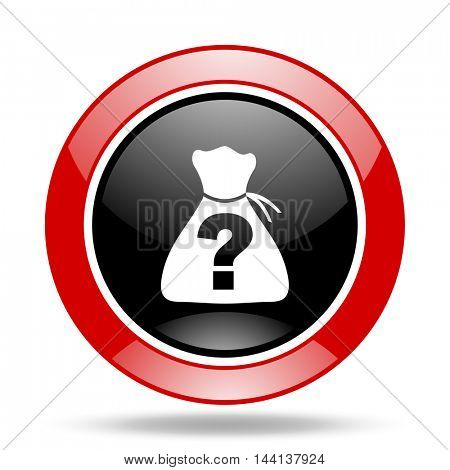 riddle round glossy red and black web icon