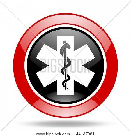 emergency round glossy red and black web icon
