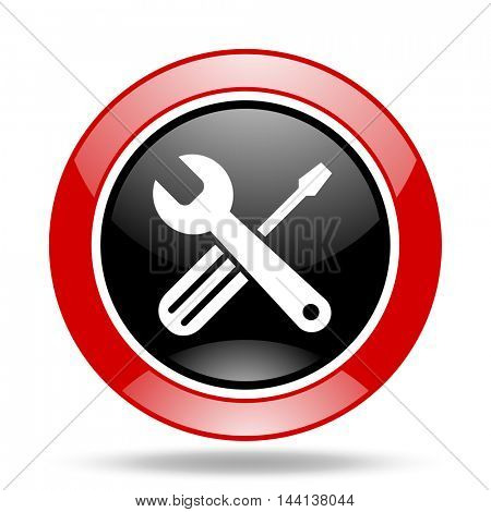 tools round glossy red and black web icon